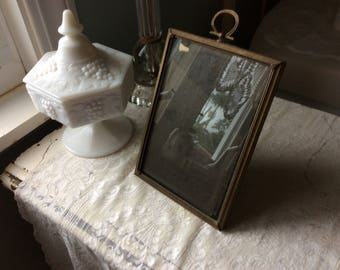 Antique Brass and Velvet Photo Frame with Glass, Easel back and brass Loop for hanging