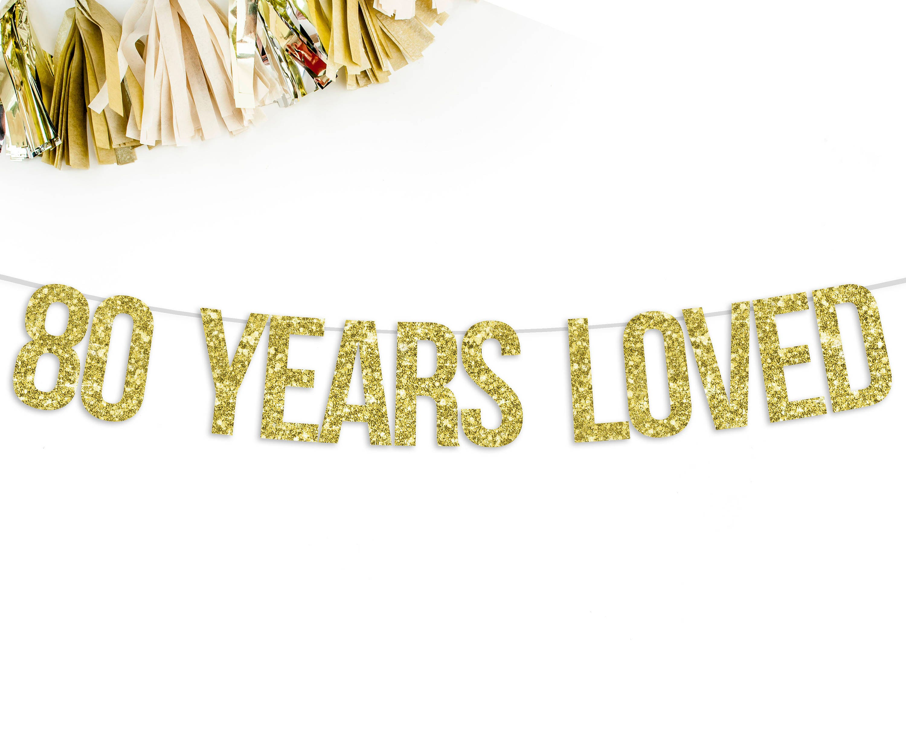 80 Years Loved Glitter Banner 80th birthday party
