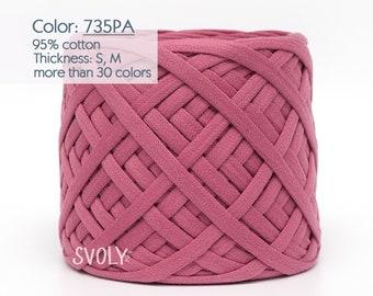 Dusty rose t-shirt yarn Cotton fabric yarn Cotton yarn Spaghetti Bulky yarn Craft material Jewellery / 735PA /5 m (5.5 yrds)