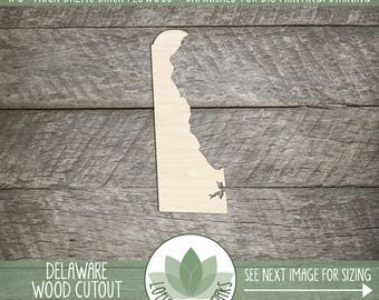 Delaware, Unfinished Wood Delaware Laser Cut Shape, DIY Craft Supply, Many Size Options