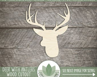 Wood Deer With Antlers Cutout, Wooden Buck With Antlers Shape, Laser Cut Wood Antlers, Many Sizes Offered, Unfinished Wood For DIY Projects