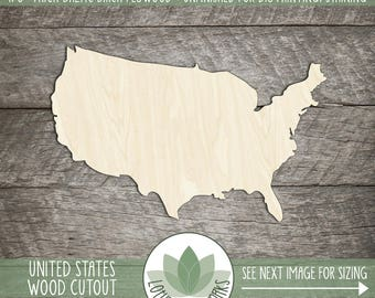 United States Wood Shape, Laser Cut USA Cut Out, Wood Sign Making Supply, Many Size Options Available