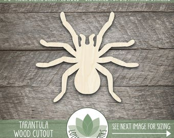 Tarantula Laser Cut Wood Shape, DIY Crafting Suppy, Wood Spider Shape, Halloween Spider, Many Size Options