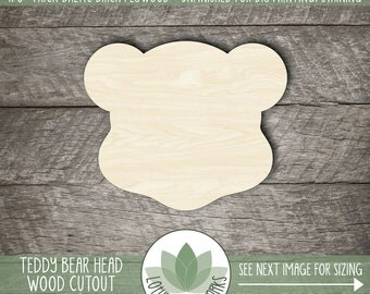Bear Head Wood Cutout, Wooden Teddy Bear Laser Cut Shape, Laser Cut Wood Shapes, Unfinished Wood For DIY Projects, Many Sizes, Teddy Bear