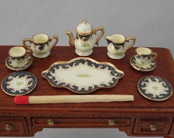 Hand-Painted Dollhouse Miniature Tea Set With Small Tray - Navy