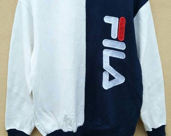 Vintage FILA dwi color sweatshirt / fila big logo embroidered crewneck / fila spell out jumper