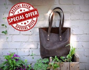 Distressed Leather Tote Bag, Brown Leather Tote, Leather Shoulder Bag, Leather Diaper Bag, Laptop Bag, Leather Bag