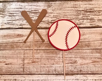 24 Baseball Cupcake Toppers