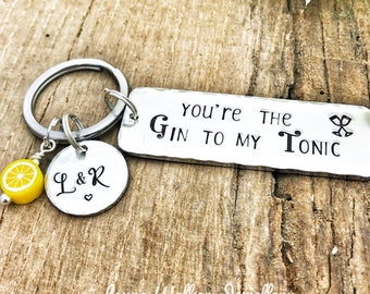 Gin Tonic Keychain, Gin to my Tonic Gift, Gin Tonic Lover, Gift Partner Gin Tonic, Gin Keyring