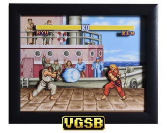 Street Fighter 2 Shadow Box - The Dock - SNES - Super Nintendo - 3D Shadow Box Glass Frame - 12x10 - Christmas Gift - Retro Art