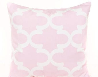 SALE ENDS SOON Pink Lattice Baby Pillow Cover, Pink Nursery Pillow, Soft Pillow Cover, Girls Room Decor, Pink and White, Nursery Decor