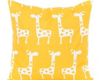 SALE ENDS SOON Yellow Giraffe Pillow, Giraffe Print Pillowcase, Bright Yellow Throw Pillow, Animal Print Pillows, Nursery Decor, Kids Room D