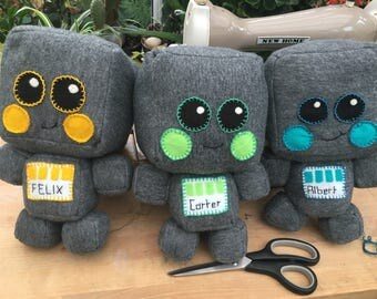 Cheeky Robots, soft toys personalised with hand stitched name. Any colour combinations.
