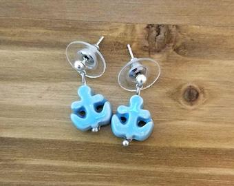 Nautical Earrings, Anchor Earrings, Nautical Jewelry, Summer Jewelry,Beach jewelry,Post earrings,Simple,Short drop earrings