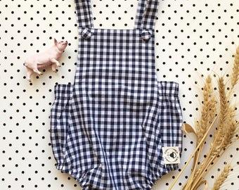 Gingham Cotton Unisex Baby Romper Onesie Overall Bodysuit