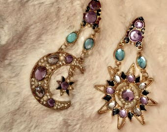 SUN & MOON Earrings / Boho Pendant Chandelier Earring
