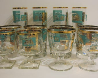 Libbey Teal and Gold Southern Comfort RiverBoat Glass Set of 12