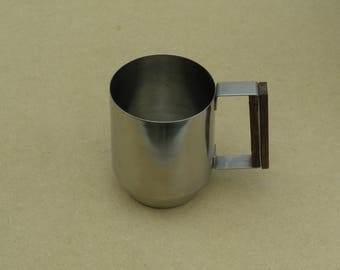 Retro Tankard - 18/8 Stainless Steel - Wooden Handle Covering - Made in Hong Kong - Retro Stainless Steel