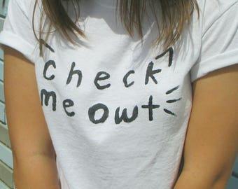 Check Meowt cat tee shirt hand painted