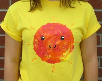 Sun tee shirt hand painted