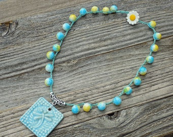 Dragonfly Crochet Necklace, Beaded Necklace, Romantic and Feminine Style, Blue and Yellow,  Spring Jewelry, Boho Necklace