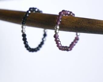 BLACK Gesmtone SPINEL Gemstone semi precious stone Garnet Ring