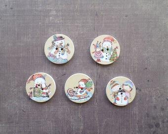 15 wooden pattern holiday winter snowman girl boy 2.5 cm round buttons