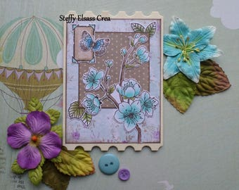 Large Rectangle Turquoise Butterfly flower Ticket magnet Magnet