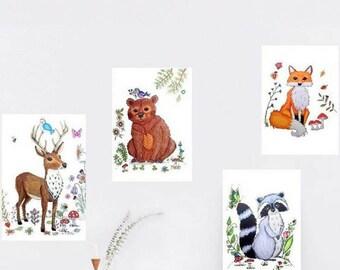 Woodland nursery art, woodland nursery decor, woodland art nursery, nursery decor woodland, woodland animal nursery decor, woodland wall art