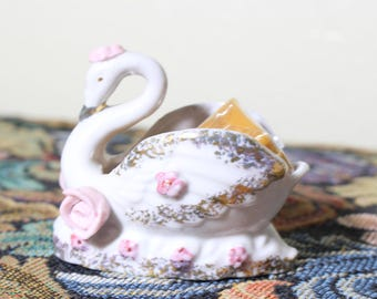 Miniature Bone China Swan with Pink Roses, Mini  Handcrafted Planter for Jungalow