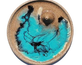 Teal & Black Resin In Speckled Clay Incense Burner