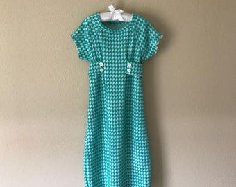 Girls dress Size 4 Toddler dress Knit dress Houndstooth dress Aqua and white houndstooth