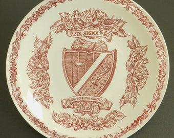Vintage Beta Sigma Phi Collectible Plate, Vernon Kilns, Abilene, Kansas, Life Learning Friendship, Sorority, Vita Scientia Amicitia, Greek