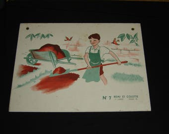 Editions Magnard. Old school poster. Affiche scolaire.  Remi et Colette. 1960 Collection. France