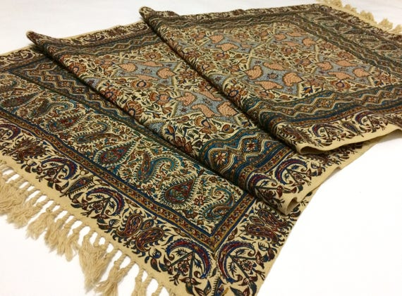 "Table runner 57"" long , traditional handmade tapestry , hand block printed calico with natural dyes"