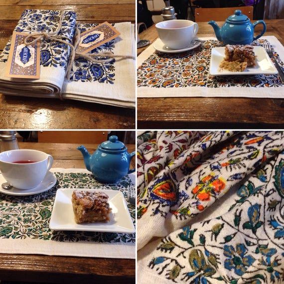 Hand printed cotton and linen placemats , red,blue,green,orange flowers design,farm house decor,place mats,dinner party,table top,tablecloth