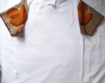 Ankara Print Fabric V-neck  Tee T-Shirt Medium Men Clothing