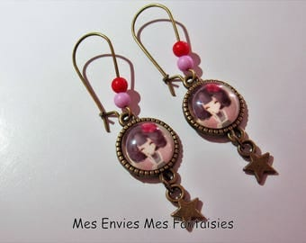 ღ girl earrings / fashion red and pink Bronze ღ