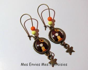 ღ girl earrings / fashion Orange Bronze ღ