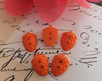 Set of 10 buttons acrylic Strawberry ORANGE A50