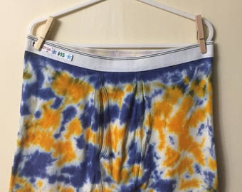 XL Blue and Orange Marble Tie Dyed Boxer Briefs