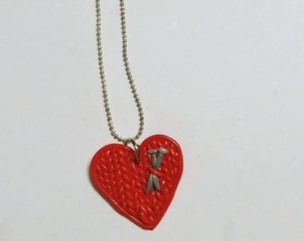 Knit Heart Necklace