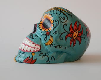 FREE SHIPPING Handmade Made of wood, Linden, Sugar Skull Day of the Dead Mexican Folk Art