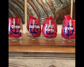 For the boat owner!   Set of four personalized stemless wine glasses
