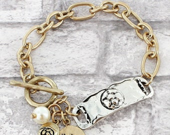 Two-Tone Soccer Cluster Charm Toggle Bracelet