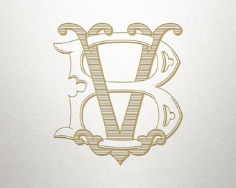 Wedding Printable Monogram - BV VB - Printable Monogram - Vintage