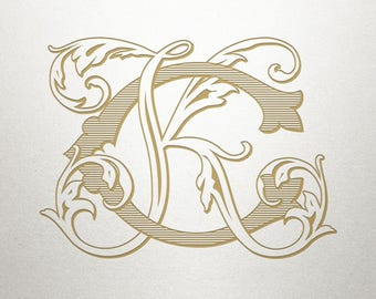 Digital Wedding Monogram - CK KC - Wedding Monogram - Interlocking