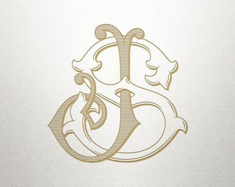 Interlocking Monogram Design - JS SJ - Monogram Design - Vintage