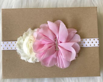 Pink and Gold Headband, Birthday Headband, Pink & Gold Baby Headband, Baby Headband, Headband, 1st Birthday Headband, 2nd Birthday Headband