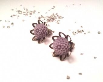 Violet Flower Earrings